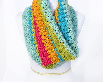 Crochet Scarf Pattern, Crochet Cowl with Puff Stitch, Staggered Puff Cowl Pattern, Crochet Neck Warmer, Crochet Snood, Instant Download