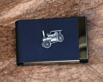Steam Engine Design Black PU and Metal Credit/Business Card Holder Gift
