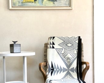 Wool Blanket Native American Inspired Design Black White & Taupe Couch Throw Rustic Modern
