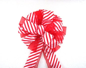 Christmas Bow / Red and White Candy Stripe Bow / Tree Topper Bow