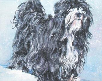 Tibetan Terrier dog art CANVAS print of LA Shepard dog painting 8x8