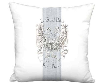 16x16 Inch READY TO SHIP - Le Grand Palais Paris Blue Grain Sack Style Pillow with Insert - French Farmhouse Linen Cotton Cushion