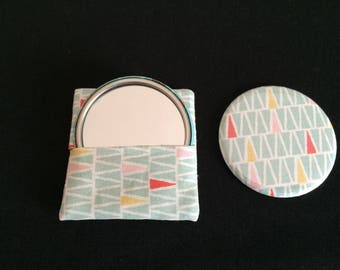 Pocket mirror printed geometric shapes and matching wallet