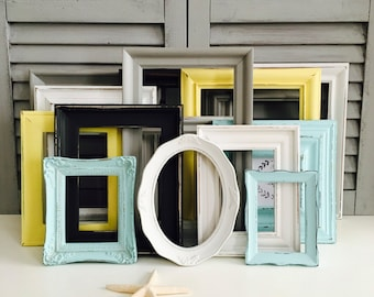 Nursery Gallery Wall Frames;  Hand-Painted Shabby Chic Frames; Distressed Frame Set; Nursery Decor;