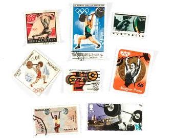 8 x Weightlifting postage stamps - from 8 countries, used, off paper, all different - Weights Weight Lifting - for collecting, paper craft