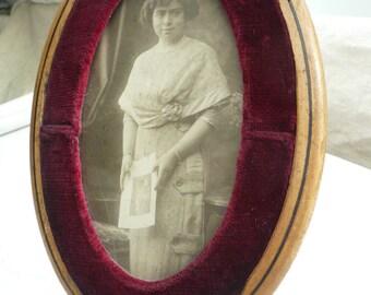 Antique FRENCH ART NOUVEAU Photograph Frame, Vintage French Wooden Photograph Frame,  Art Nouveau Frame with original Photograph..