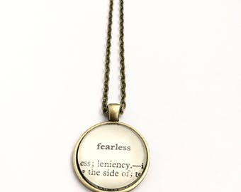 FEARLESS Vintage Dictionary Word Pendant