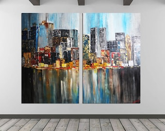 "New York Extra Large Painting ORIGINAL Manhattan Brooklyn City Painting Modern Acrylic Downtown Painting by Kathleen Artist 72"" x 80"" Inches"