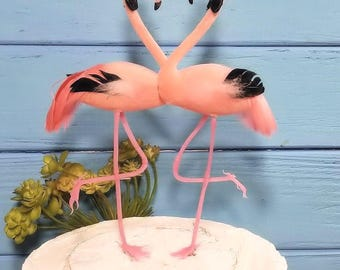 choose accessories at checkout flamingo gay wedding chic flamingo  cake topper   -flocked head & feathers body