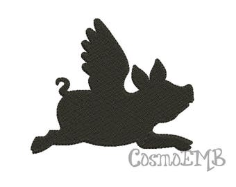 7 Size Flying pig Silhouette Embroidery design Machine Embroidery - Digital INSTANT DOWNLOAD