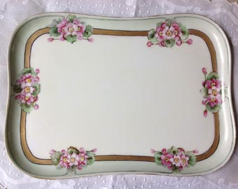 Antique Limoges Hand Painted and Signed Dresser Tray