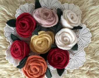 Felt rose hair clips