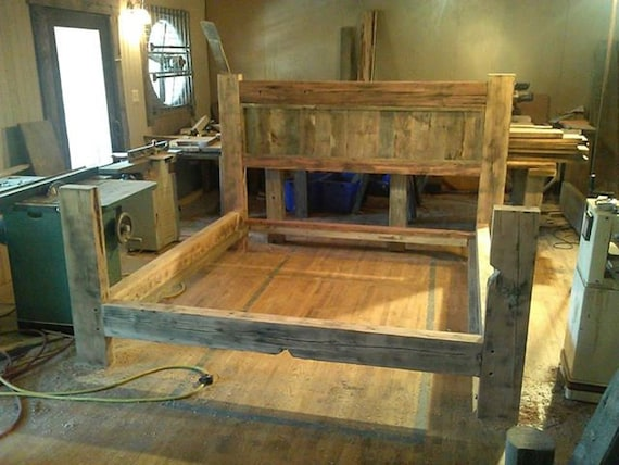 Items similar to Reclaimed Barn Wood Bed Frame on Etsy