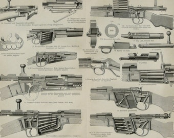1897 Antique print of ANTIQUE RIFLES. FIREARMS. 121 years old gorgeous plate