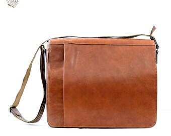 Genuine Vegetable Tanned Leather Messenger Bag