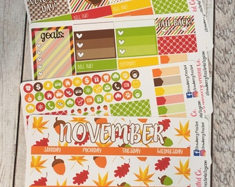 November---- Monthly Planner Kit ---- {Includes 160+ Stickers}