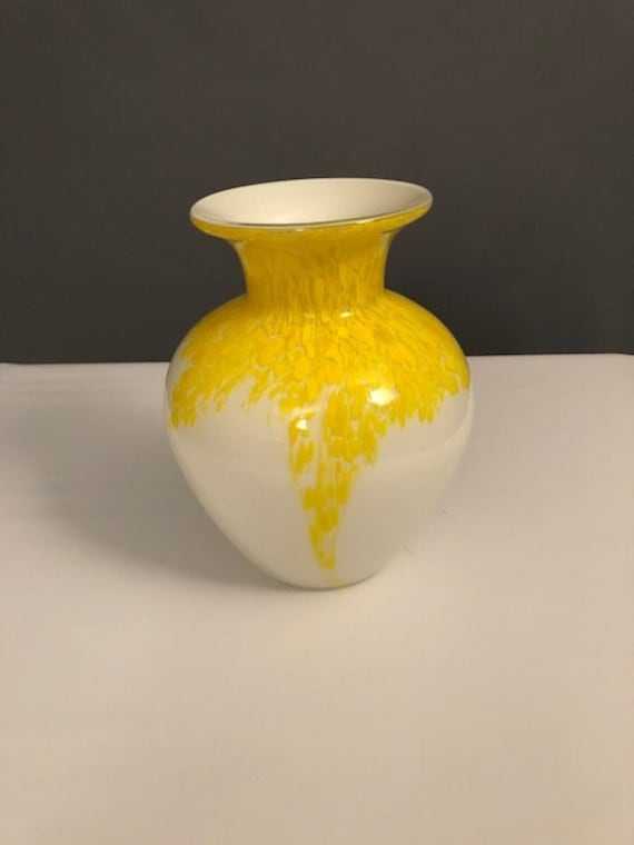 beautiful Mid-Century Italian hand blown vase with white and yellow colors
