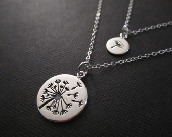 Dandelion Mother and daughter necklaces,Make a wish for Mother daughter Jewelry,Wish necklace,Make a wish,Mother and Daughter