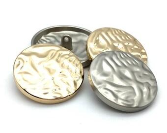 6 Pcs 0.39~1.57 Inches Gold/Silver/Matte Gold/Matte Silver/Black Irregular Convex Surface Metal Shank Buttons For Coats