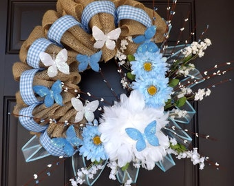 Spring Summer Wreath light blue with white butterflies Elegant wreath- Kathie! - Great Mother's Day Gift!