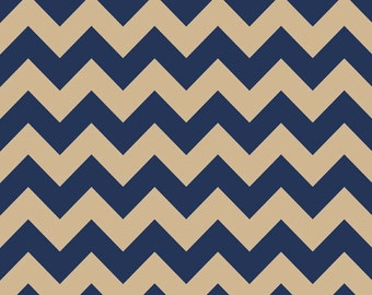 SALE Riley Blake Fabric NAVY Medium Chevron Color Navy/Tan C380-25