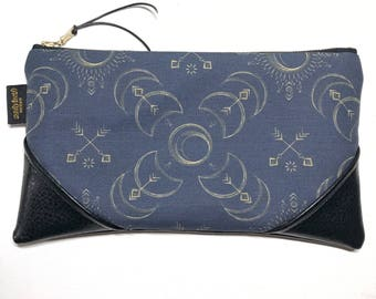 Large Boho Solar Eclipse x Black Zipper Pouch / Clutch in Turquoise with inside lining and Zipper Pull or Leather Wristlet Strap