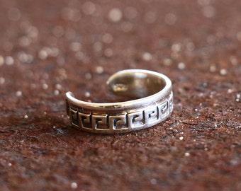 Greek Key Toe Ring, Silver Toe Ring, Sterling ,Adjustable Silver Toe Ring, Simple Toe Ring, Sterling Silver Jewellery