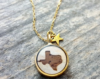 Texas Necklace - Birch Bark Necklace in Gold -Texas Wedding Bridesmaid Jewelry - Rustic Wood Birch Bark Texas Jewelry