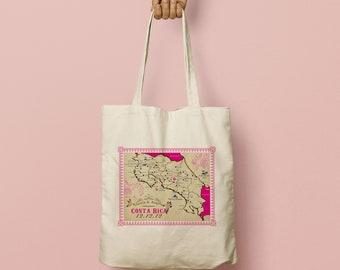 ANGELA Welcome gift bag, Wedding Favor Bags, Bridesmaid Gift, Costa Rica Map, Custom Beach Tote, Custom Canvas Tote, Beach Bag