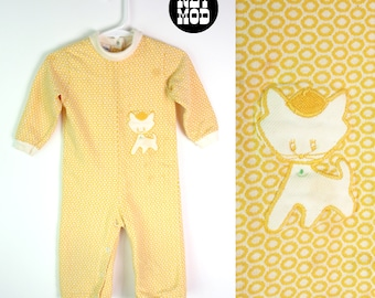 CHILD SIZE - Sassy Vintage 60s 70s Light Yellow Kitty Cat Appliqué Sleeper One-Piece Outfit