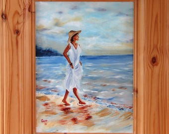 Original signed Irish Oil Painting by Artist CORINA HOGAN - Beach Stroll Lady