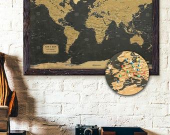 "Push Pin Map 24x36"" | Large Map | Rugged Style | Foam Board Mounted | Travel Map"