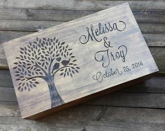 Personalized keepsake box, memory box, wedding wine box, wooden wine crate, wedding memory box, first fight box, wine box ceremony, tree box