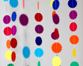 Rainbow Garland, rainbow banner, rainbow birthday, party banner, scalloped, over the rainbow, table banner, dot garland, baby shower