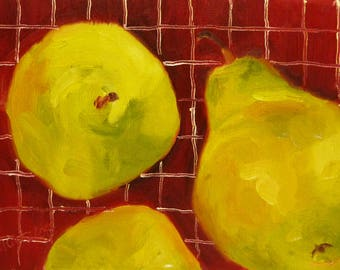 Small Still Life Oil Painting on Canvas Pears for a Picnic