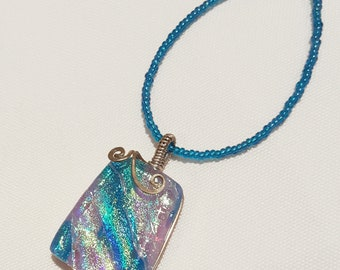 Turquoise and Lavender Dichroic Glass Pendant with Sterling Silver Wire Wrap - Cyberlily