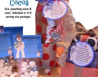 SNOWFLAKE COCOA - Hot Chocolate Gift Tags & Labels