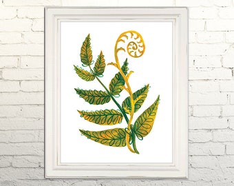 FERN Digital Art Print Printable Watercolor Illustration Wall Art Decor Botanical Nature Leaf Boho Woodland Greenery 5x7, 8x10, 11x14