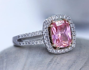 Pink Cushion Sterling Silver Halo Ring, Pink & White CZ in MicroPave Set, Cushion Halo Engagement Ring, Lab Diamond Ring, Promise Ring