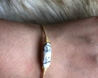 Marble gold tone bangle bracelet