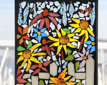 Mosaic- White picket fence -Stained Glass SunCatcher or wall Decoration