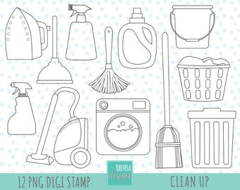 50% SALE CLEANING digi stamp, commercial use, Laundry stamp, clean up graphics, cute, cute clean icons, bucket, digital stamps