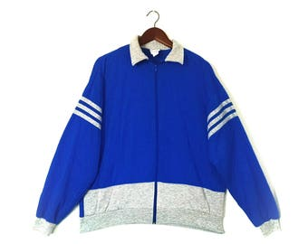 Vintage 1980s soft gray blue jogger zip up sweatshirt