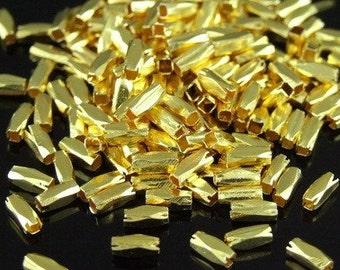 KG-228 thai karen hill tribes silver 50 gold vermeil long facet bead