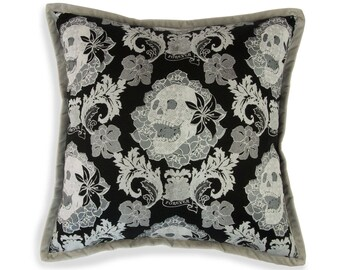 Skulls Damask Pillow, Black and White