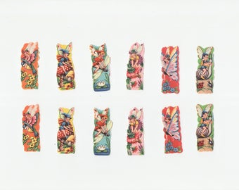 1950's Vintage Decals Fairies and Elves Set of 12 Pieces