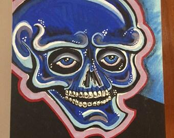 Blu Skull Portrait 11x13 Acrylic Painting on Canvas Board - Original OOAK