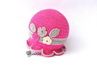 Pink Baby Beanie, Baby Girl Hat, Cable Knit Beanie, Crochet Baby Hat, Winter Baby Hat, Flower Baby Hat, Baby Girl Cap, Brim Winter Hat.