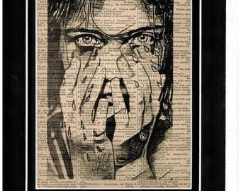 222 Crying woman vintage paper dictionary art