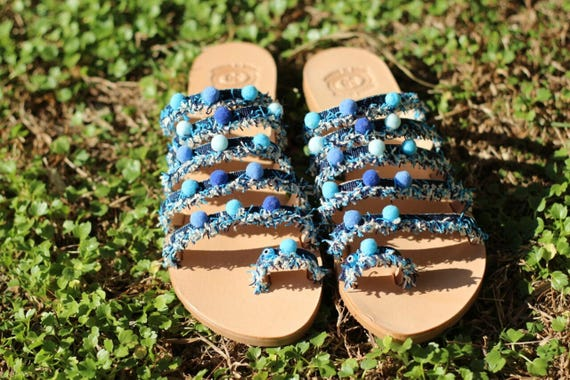 Bohemian Hippie sandals in Eye sandals Evil Handmade pom Pom Sandals Original Boho Made Sandals sandals Greece Greek leather xzqgP4